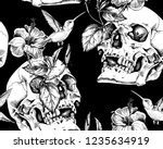 seamless pattern. human skulls... | Shutterstock .eps vector #1235634919