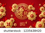 chinese banner with zodiac... | Shutterstock .eps vector #1235638420