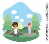 young women exercising cartoon | Shutterstock .eps vector #1235639500