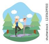 young women exercising cartoon | Shutterstock .eps vector #1235639503