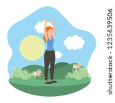 young woman exercising cartoon | Shutterstock .eps vector #1235639506