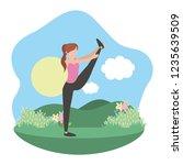 young woman exercising cartoon | Shutterstock .eps vector #1235639509