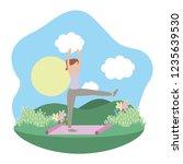 young woman exercising cartoon | Shutterstock .eps vector #1235639530