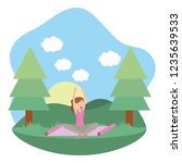 young woman exercising cartoon | Shutterstock .eps vector #1235639533