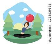 young woman exercising cartoon | Shutterstock .eps vector #1235639536