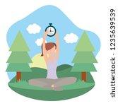 young woman exercising cartoon | Shutterstock .eps vector #1235639539