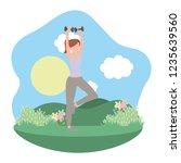 young woman exercising cartoon | Shutterstock .eps vector #1235639560