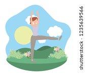young woman exercising cartoon | Shutterstock .eps vector #1235639566