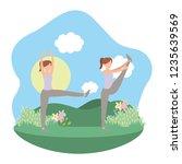 young woman exercising cartoon | Shutterstock .eps vector #1235639569