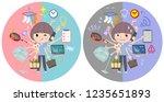 a set of women in sportswear...   Shutterstock .eps vector #1235651893