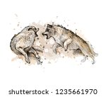 wolf fight from a splash of... | Shutterstock .eps vector #1235661970