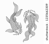 outline couple of asian koi... | Shutterstock .eps vector #1235662309