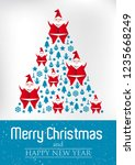 merry christmas tree with santa ... | Shutterstock .eps vector #1235668249
