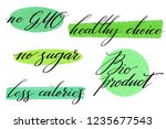 healthy food label set. product ... | Shutterstock .eps vector #1235677543