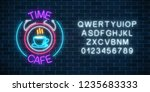 neon sign of time cafe with...   Shutterstock .eps vector #1235683333