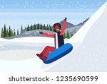 african american woman sledding ... | Shutterstock .eps vector #1235690599