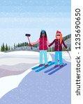 women couple skiers taking... | Shutterstock .eps vector #1235690650