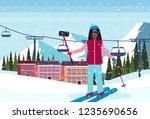 woman taking selfie ski resort... | Shutterstock .eps vector #1235690656