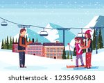 man taking photo skiers couple... | Shutterstock .eps vector #1235690683