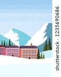 ski resort hotel houses... | Shutterstock .eps vector #1235690686