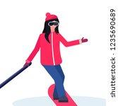 woman snowboarder taking selfie ... | Shutterstock .eps vector #1235690689