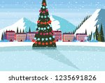 ice skating rink decorated... | Shutterstock .eps vector #1235691826