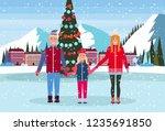 family skaters standing ice... | Shutterstock .eps vector #1235691850