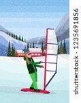 woman windboarding windsurfing... | Shutterstock .eps vector #1235691856