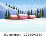 small village houses frozen... | Shutterstock .eps vector #1235691880