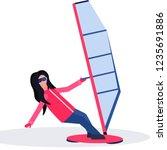 woman windboarder holding sail... | Shutterstock .eps vector #1235691886