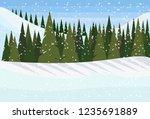 winter snowy mountain hill... | Shutterstock .eps vector #1235691889