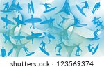 surfer line vector art | Shutterstock .eps vector #123569374