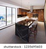 luxurious bar counter in a... | Shutterstock . vector #1235695603