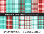 aqua blue and red houndstooth... | Shutterstock .eps vector #1235696860