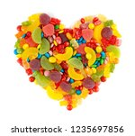 mixed colorful candies. heart... | Shutterstock . vector #1235697856