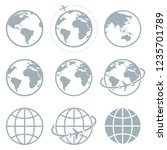 earth icon collection. globe.... | Shutterstock .eps vector #1235701789