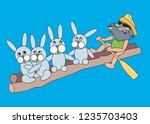 old man and hares. vector... | Shutterstock .eps vector #1235703403
