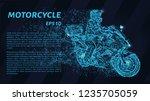motorcyclist of blue glowing... | Shutterstock .eps vector #1235705059