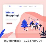 ux ui template with walking... | Shutterstock .eps vector #1235709709