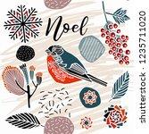 noel card  winter print design.   Shutterstock .eps vector #1235711020