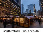 Long exposure photograph of the Chicago Christkindl Holiday Market. Vendors from around the world sell holiday themed products. - stock photo