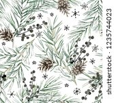 christmas seamless pattern ... | Shutterstock .eps vector #1235744023