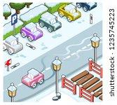 car sliding on street covered... | Shutterstock .eps vector #1235745223