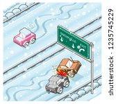 car crash and sliding car on a... | Shutterstock .eps vector #1235745229