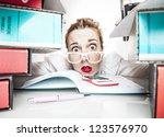 work stress humor | Shutterstock . vector #123576970