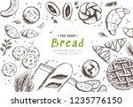 bakery background. linear...   Shutterstock .eps vector #1235776150