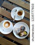 italian coffee break. top view...   Shutterstock . vector #1235777833