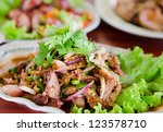 spicy slices pork  with... | Shutterstock . vector #123578710