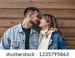 cute european couple posing...   Shutterstock . vector #1235795863