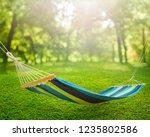 relaxing on hammock in garden | Shutterstock . vector #1235802586